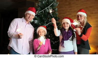 sparklers, gezin