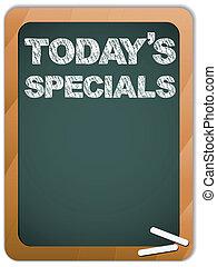 specials, bord, krijt, geschreven, today's, boodschap