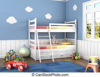 speelgoed, children´s, blauwe , kamer