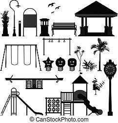 speelplaats, park, kinderen, tuin