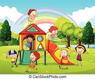 speelplaats, park, spelende kinderen