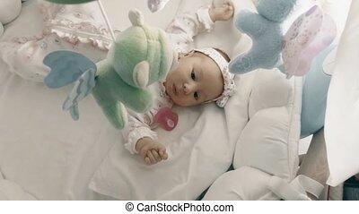 speels, kinderbed, haar, pasgeboren baby, meisje