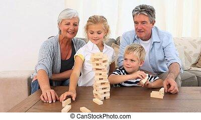 spel, spelend, gebouw, gezin