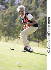 spel, vrouw, golf, spelend
