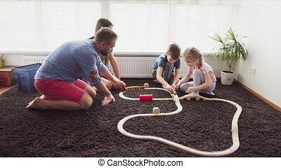 spelen kamer, gezin, vloer, samen, kinderen
