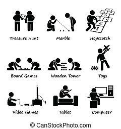 spelen, kinderen, clipart, spelend