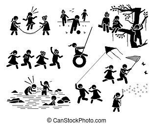 spelend, figuren, buiten, icons., kinderen, gezonde , actieve levensstijl, stok