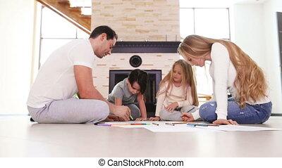 spelend, ouders, kinderen, vloer