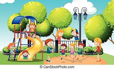 spelend, park, publiek, kinderen