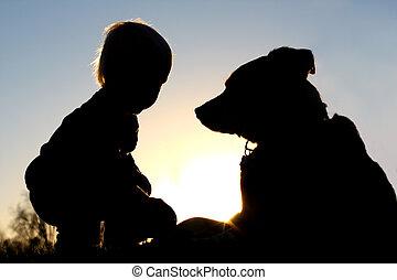 spelend, silhouette, dog, kind