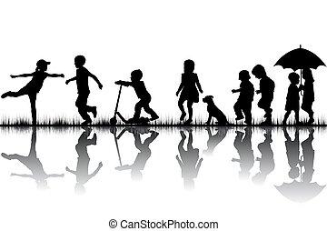 spelend, silhouettes, kinderen