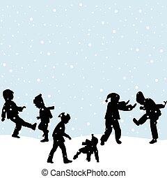 spelend, sneeuw, kinderen