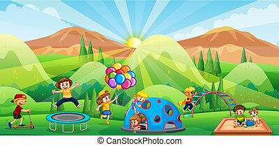 spelend, speelplaats, kinderen
