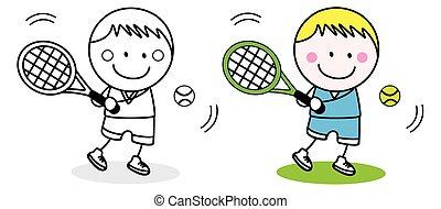 speler, badminton, geitje