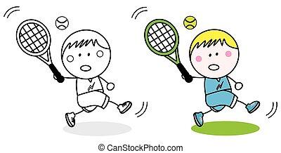 speler, badminton, kleuren
