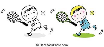speler, badminton, kleuren, pagina