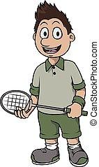 speler, badminton, ontwerp, spotprent