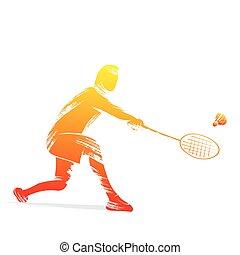 speler, badminton, ontwerp
