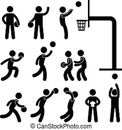 speler, basketbal, mensen, pictogram, meldingsbord
