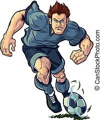 speler, gedribbel, voetbal, volhardend