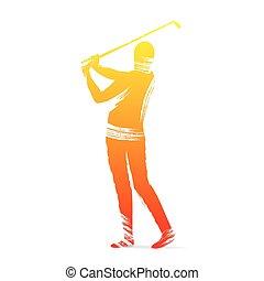 speler, golf, ontwerp