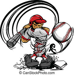 speler, honkbal, spotprent, het slingeren, ba