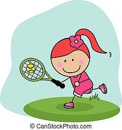 speler, meisje, badminton