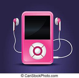 speler, moderne, mp3, oortelefoons