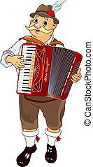 speler, oktoberfest, accordeon