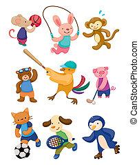 speler, sportende, spotprent, dier
