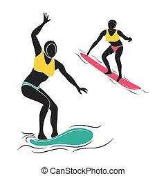 speler, surfing, ontwerp