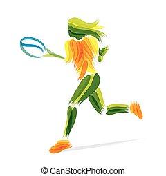 speler, tennis, ontwerp