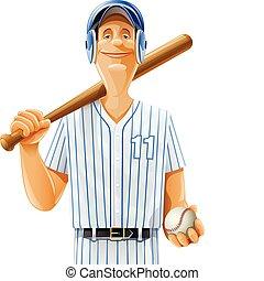 speler, vleermuis, bal, honkbal