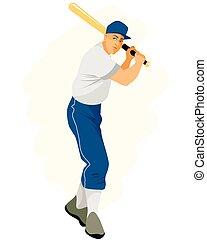 speler, vleermuis, honkbal