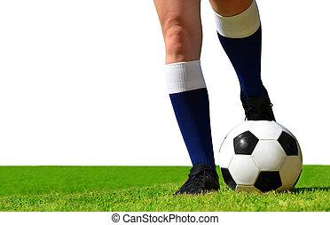 speler, voetbal, field., voetbal