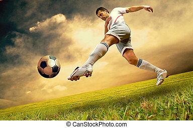 speler, voetbal, hemelgebied, olimpic, geluk, stadion, zonopkomst