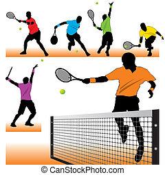 spelers, silhouettes, tennis, set, 6