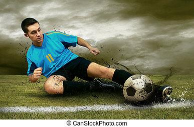 spelers, voetbalveld