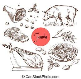 spices., jamon, ouderwetse , gravure, style., illustratie, menu, vlees, vlees, rundvlees