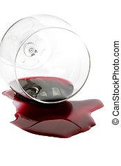 spilt, rode wijn