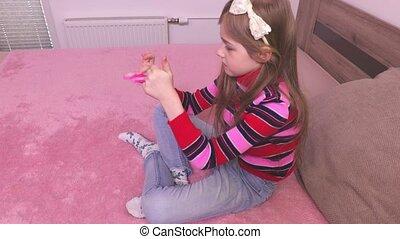 spinner, klein meisje, vrije tijd, fidget