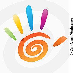 spiraal, abstract, vector, gekleurde, hand