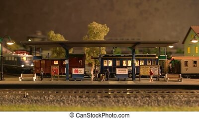 spoorweg, miniatuur, verhuizing, station, train.
