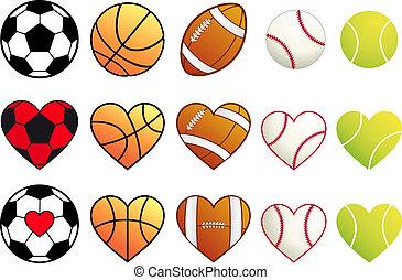 sportende, gelul, set, vector, hartjes