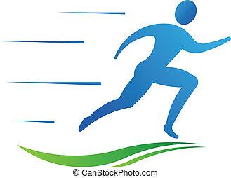 sportende, man, fitness, rennende , fast.