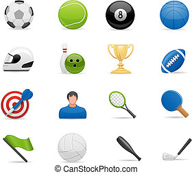 sportende, set, iconen