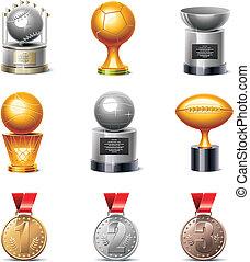 sportende, vector, medailles, prijsbekers