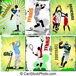 sportende, voetbal, posters., zes, baseb