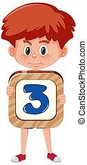spotprent, achtergrond, vrijstaand, jongen, getal, karakter, vasthouden, witte , student