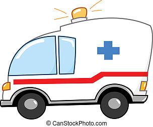 spotprent, ambulance